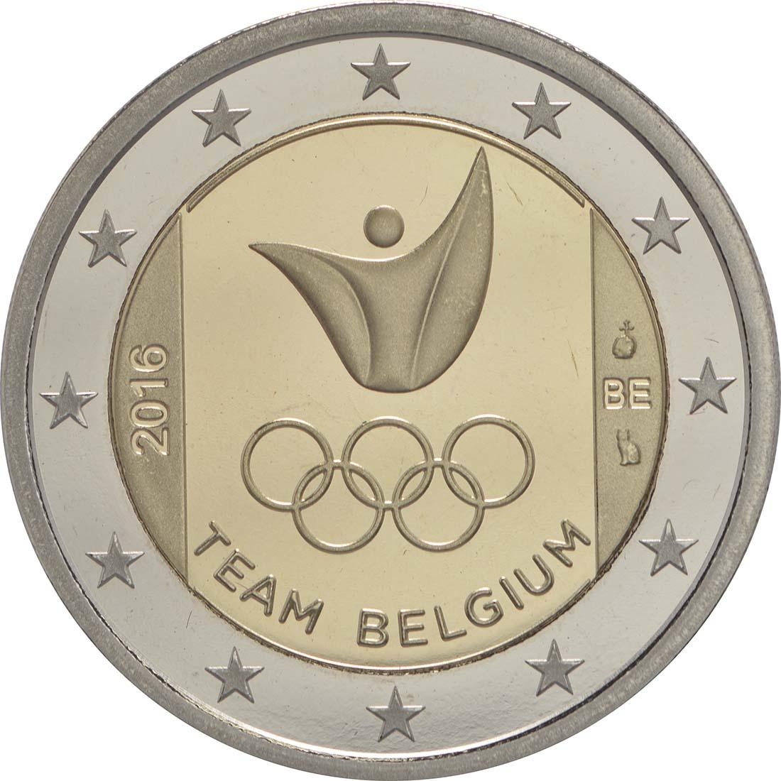 Rückseite :Belgien : 2 Euro Olympische Sommerspiele 2016 in Rio de Janeiro  2016 PP