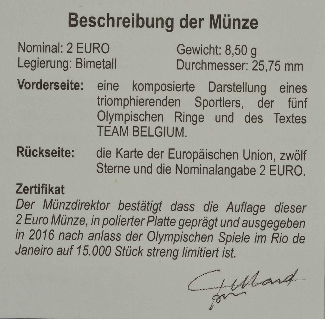 Zertifikat:Belgien : 2 Euro Olympische Sommerspiele 2016 in Rio de Janeiro  2016 PP