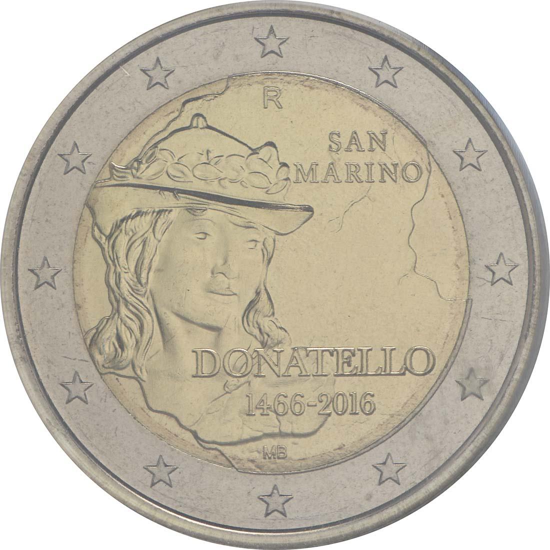 Rückseite :San Marino : 2 Euro 550. Todestag von Donatello  2016 bfr