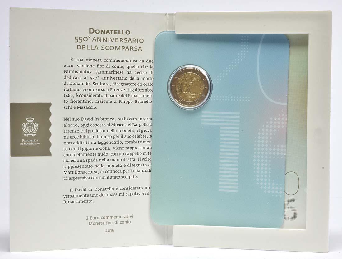 San Marino : 2 Euro 550. Todestag von Donatello  2016 bfr