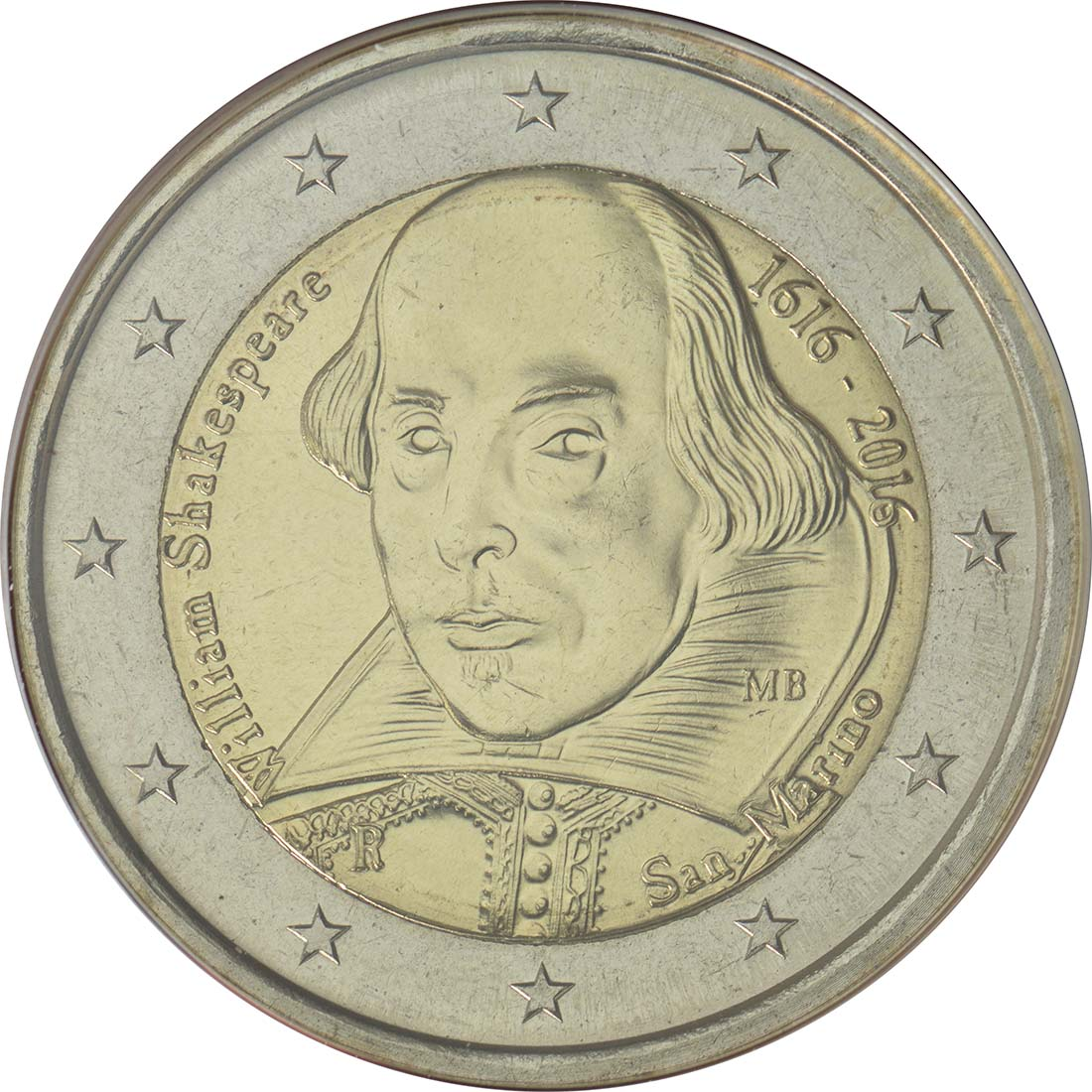 Rückseite :San Marino : 2 Euro 400. Todestag von William Shakespeare  2016 Stgl.