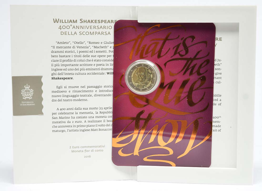 San Marino : 2 Euro 400. Todestag von William Shakespeare  2016 Stgl.
