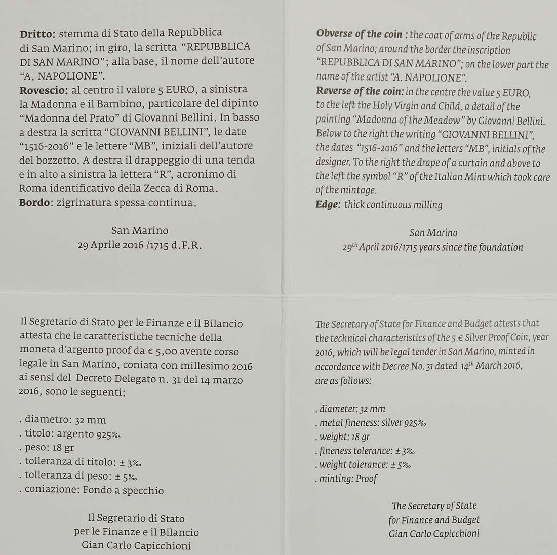 Zertifikat:San Marino : 5 Euro 500. Todestag von Giovanni Bellini  2016 PP