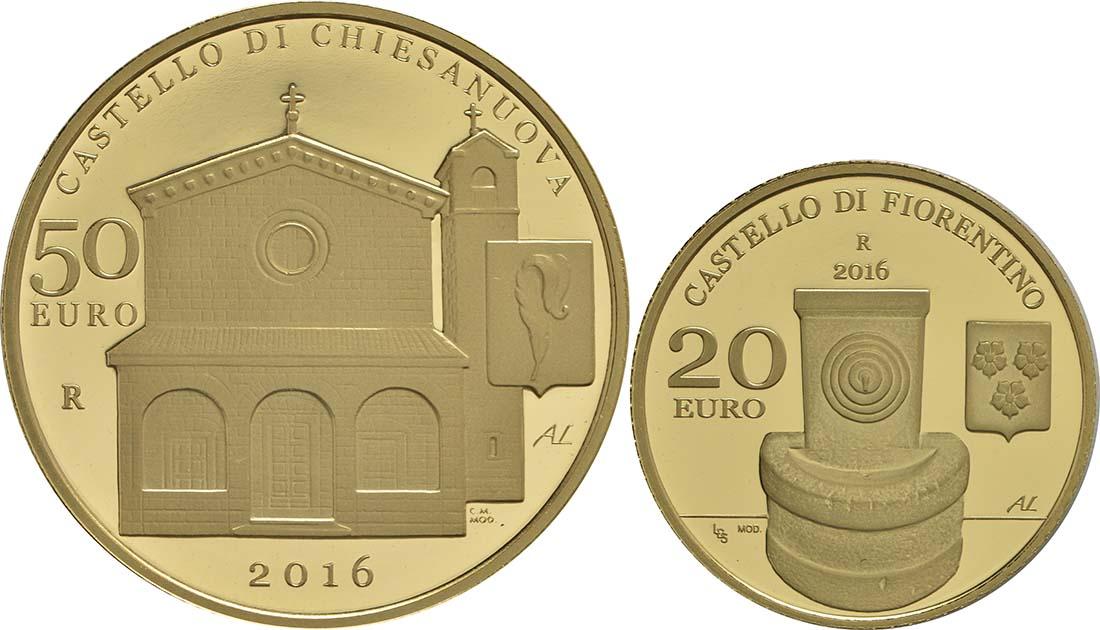 Vorderseite:San Marino : 70 Euro Set: 20+50 Euro : Schlösser Chiesanuova und Fiorentino  2016 PP