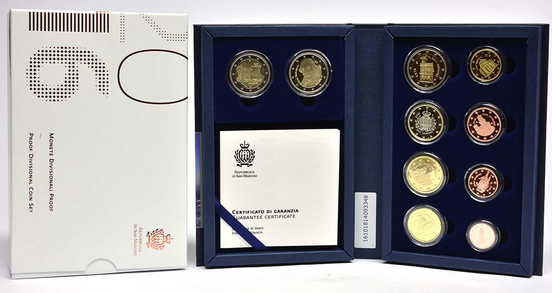 Lieferumfang:San Marino : 7,88 Euro KMS San Marino mit beiden 2 Euro Gedenkmünzen Shakespeare und Donatello  2016 PP