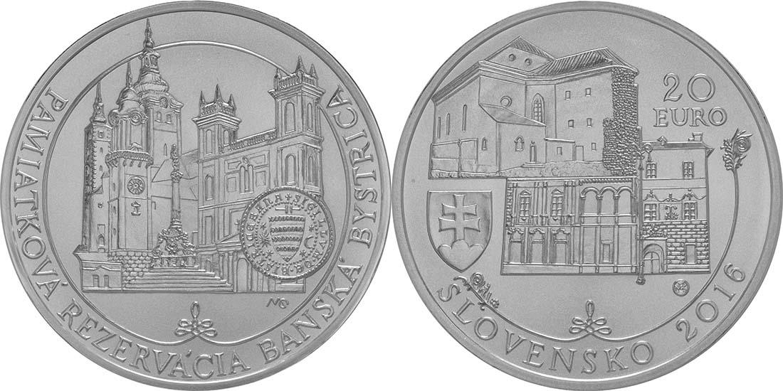 Lieferumfang:Slowakei : 20 Euro Historisches Denkmalschutzgebiet Banská Bystrica  2016 Stgl.