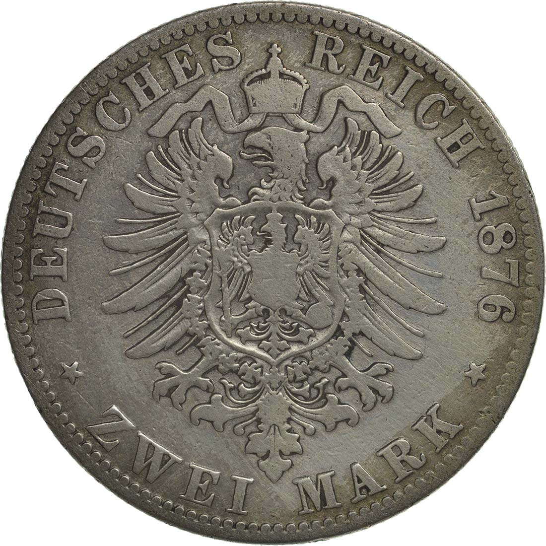 Rückseite:Deutschland : 2 Mark Friedrich I.  1876 s/ss.