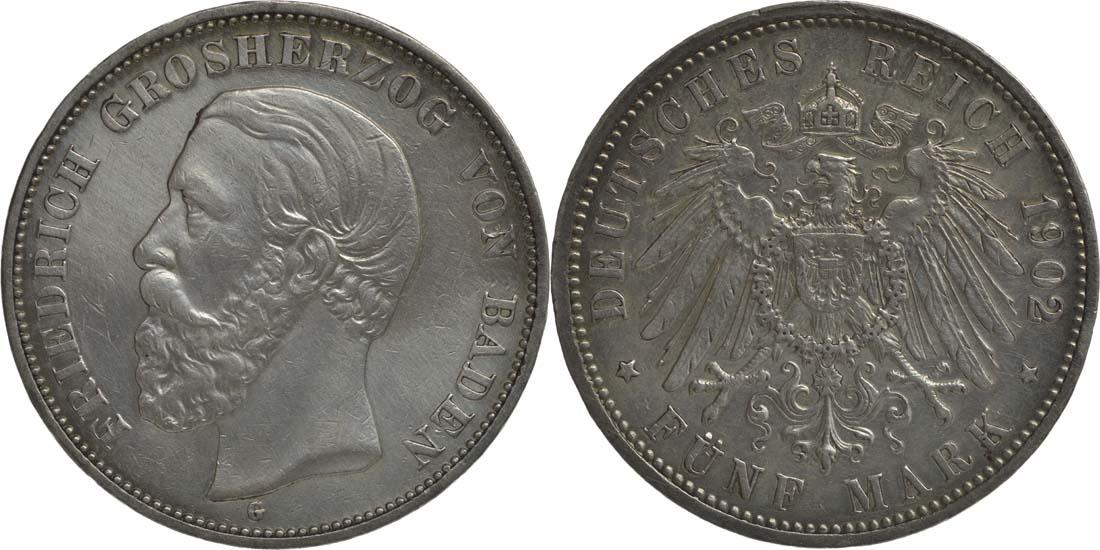 Deutschland : 5 Mark Friedrich I. winz. Rs., geputzt, -seltenes Jahr- 1902 s/ss.