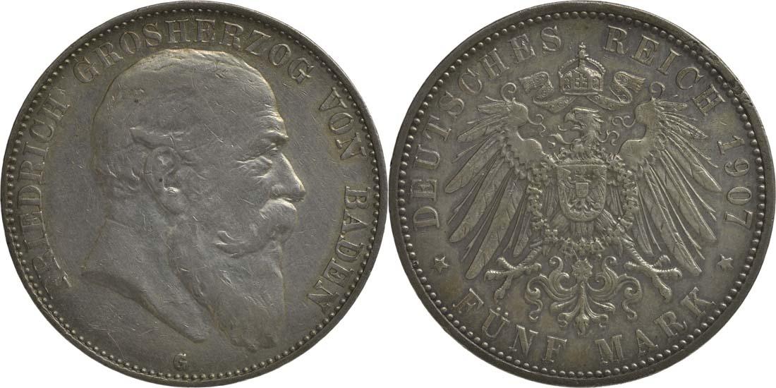 Deutschland : 5 Mark Friedrich I.  1907 ss/vz.