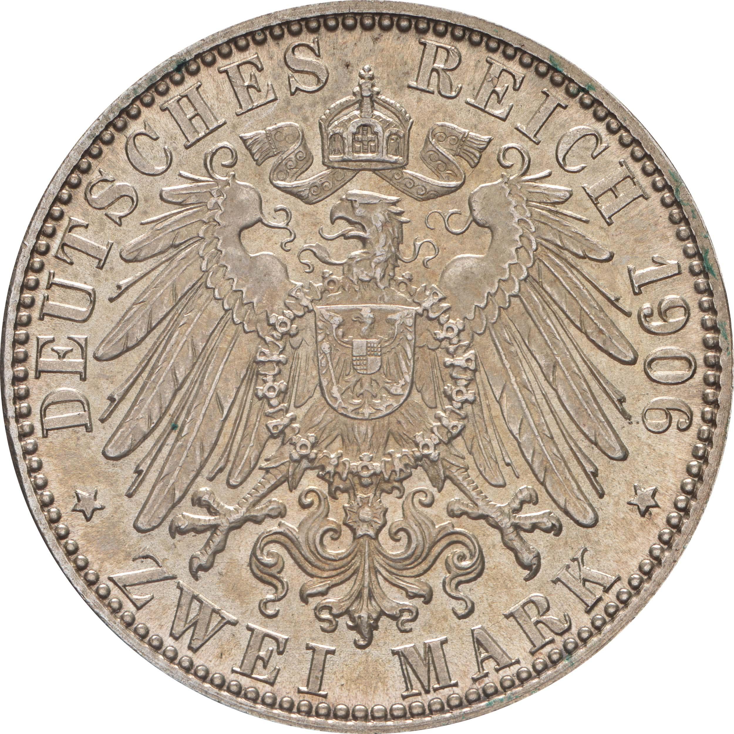Rückseite:Deutschland : 2 Mark Friedrich u. Luise patina 1906 Stgl.