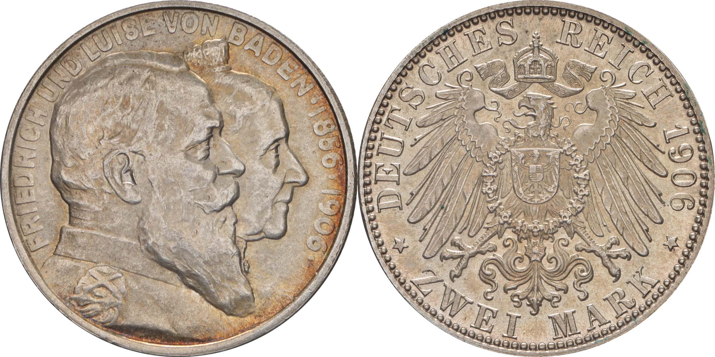 Deutschland : 2 Mark Friedrich u. Luise patina 1906 Stgl.