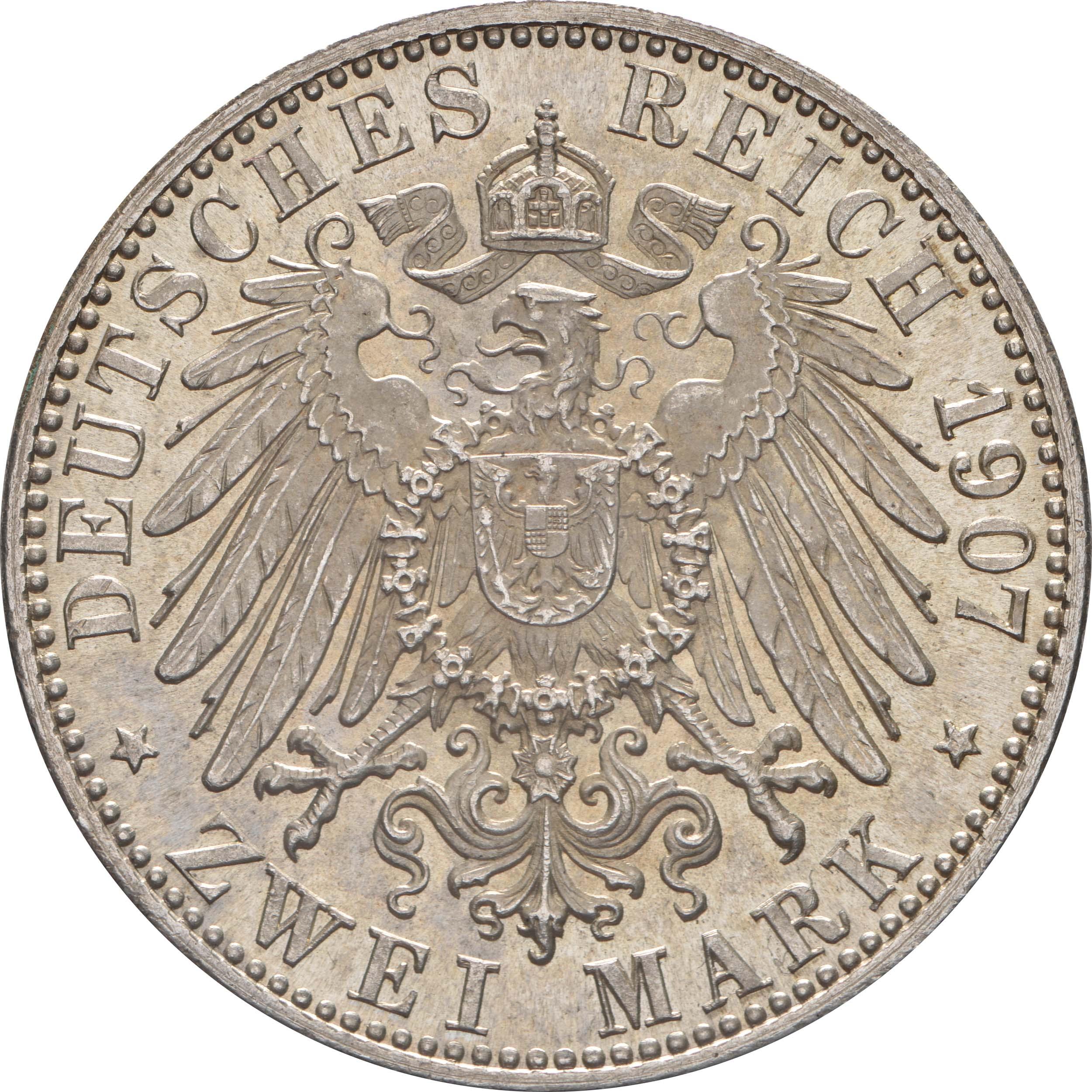 Rückseite:Deutschland : 2 Mark Friedrich I. -fein- 1907 Stgl.