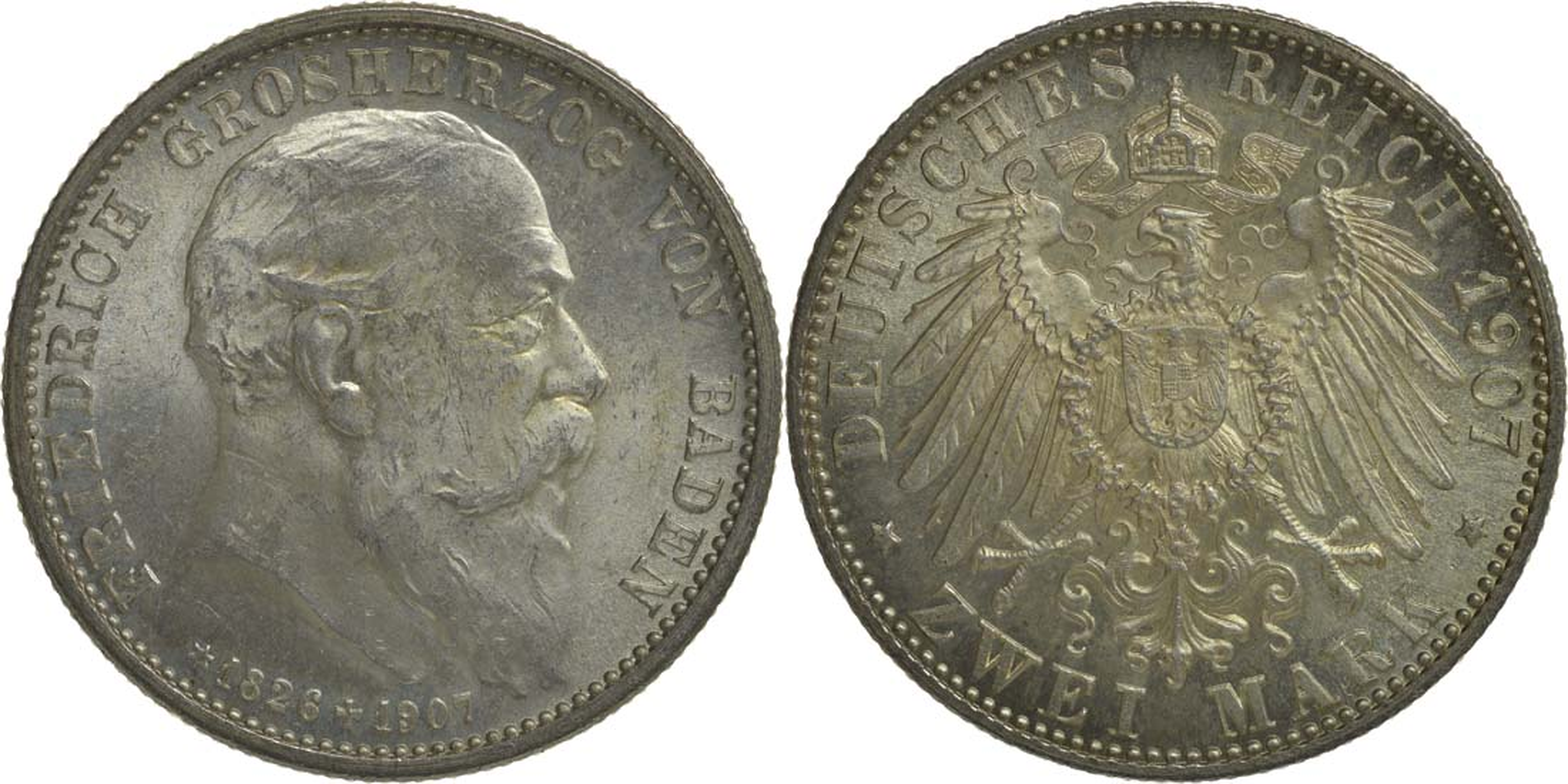 Deutschland : 2 Mark Friedrich I. -fein- 1907 Stgl.