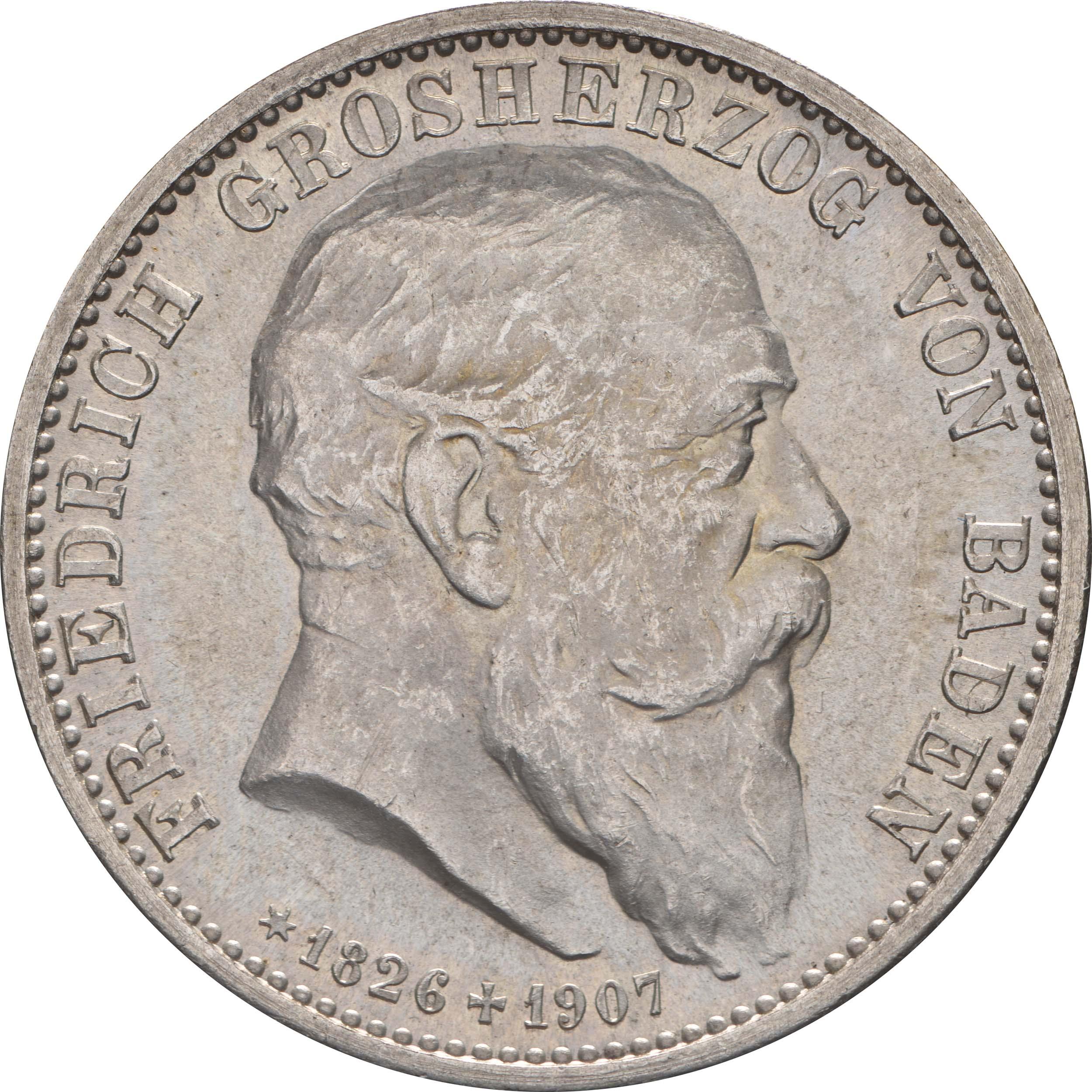 Vorderseite:Deutschland : 2 Mark Friedrich I. -fein- 1907 Stgl.