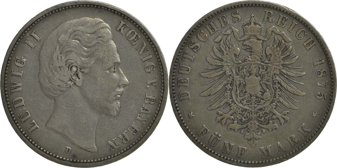 Deutschland : 5 Mark Ludwig II.  1875 s/ss.