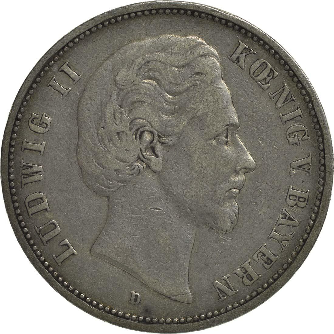 Vorderseite:Deutschland : 5 Mark Ludwig II.  1875 s/ss.