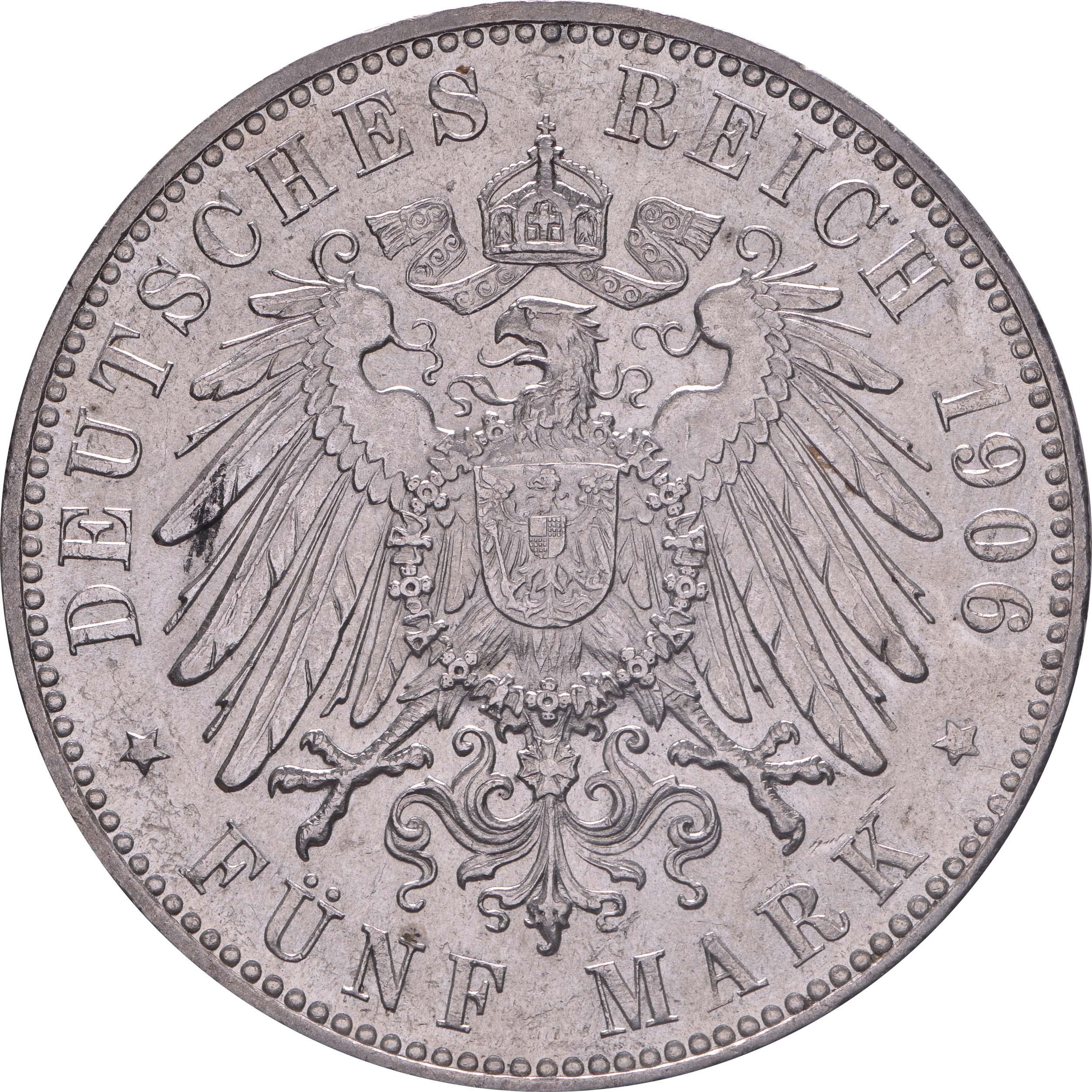 Rückseite:Deutschland : 5 Mark   1906 vz/Stgl.
