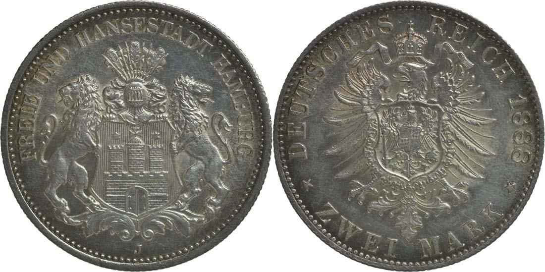Deutschland : 2 Mark  winz. Kratzer 1888 f.Stgl.