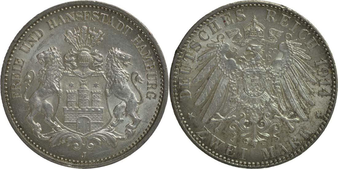 Deutschland : 2 Mark   1914 vz/Stgl.