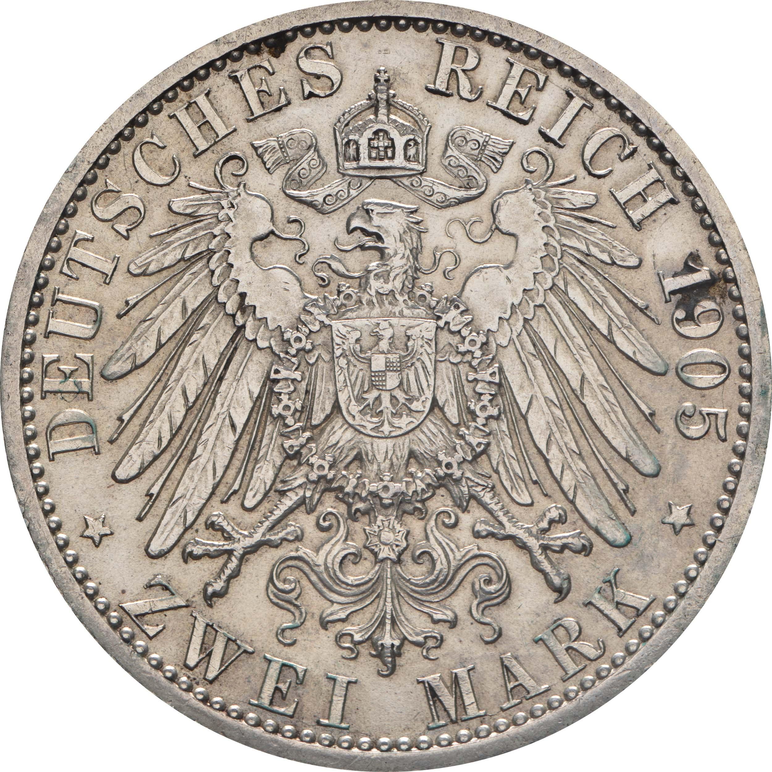 Rückseite:Deutschland : 2 Mark Karl Günther  1905 vz.