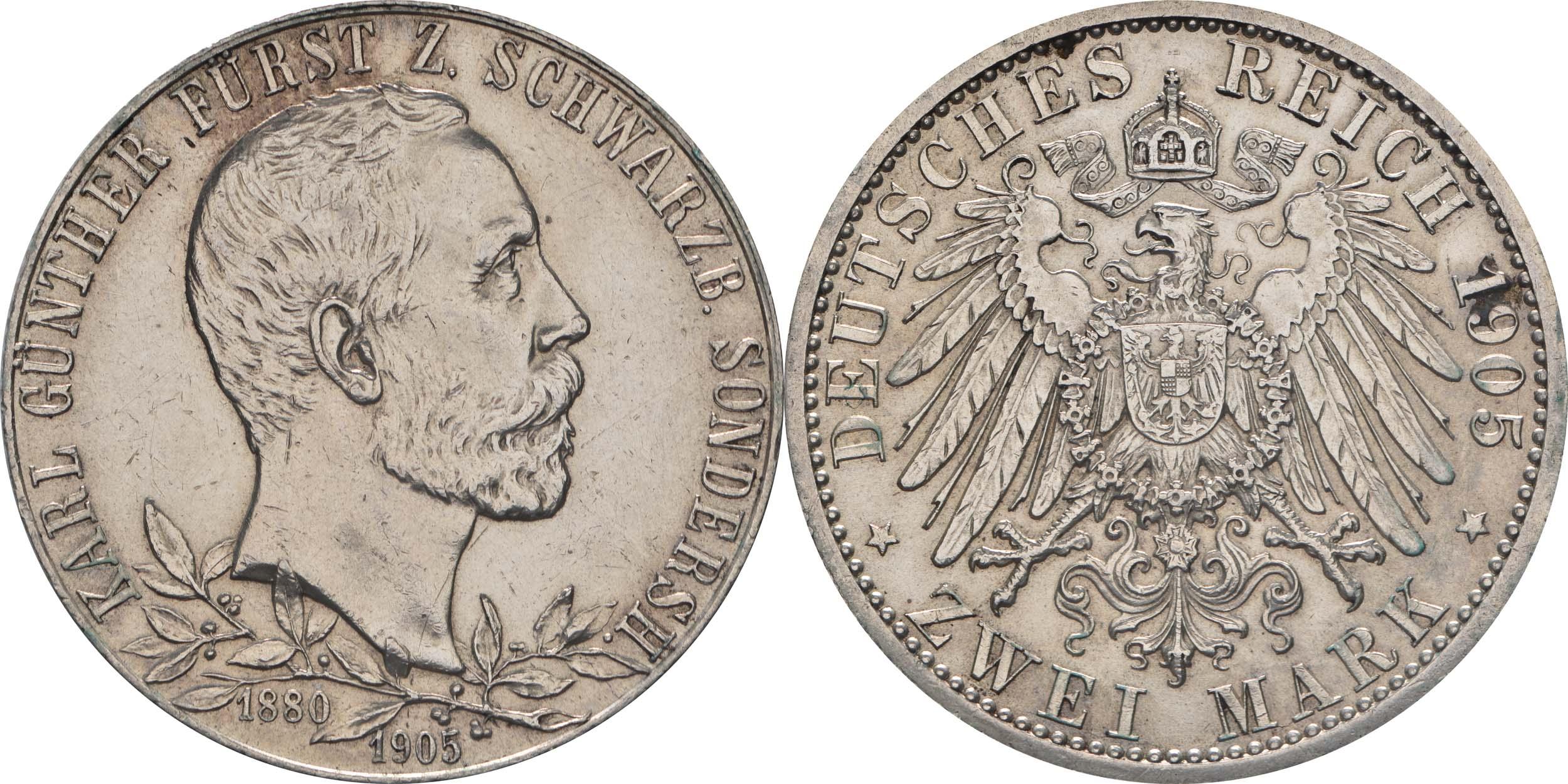 Lieferumfang:Deutschland : 2 Mark Karl Günther  1905 vz.