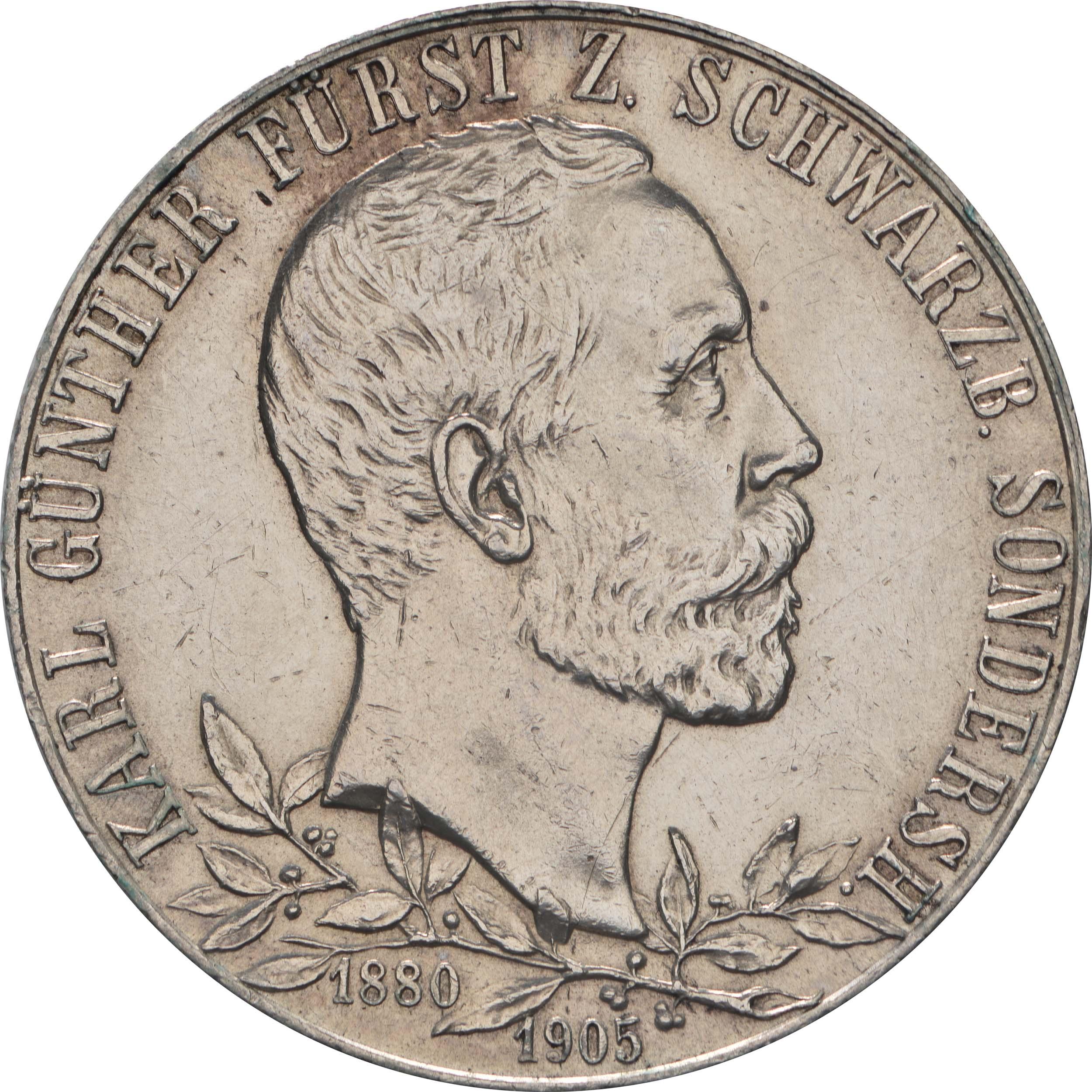 Vorderseite:Deutschland : 2 Mark Karl Günther  1905 vz.