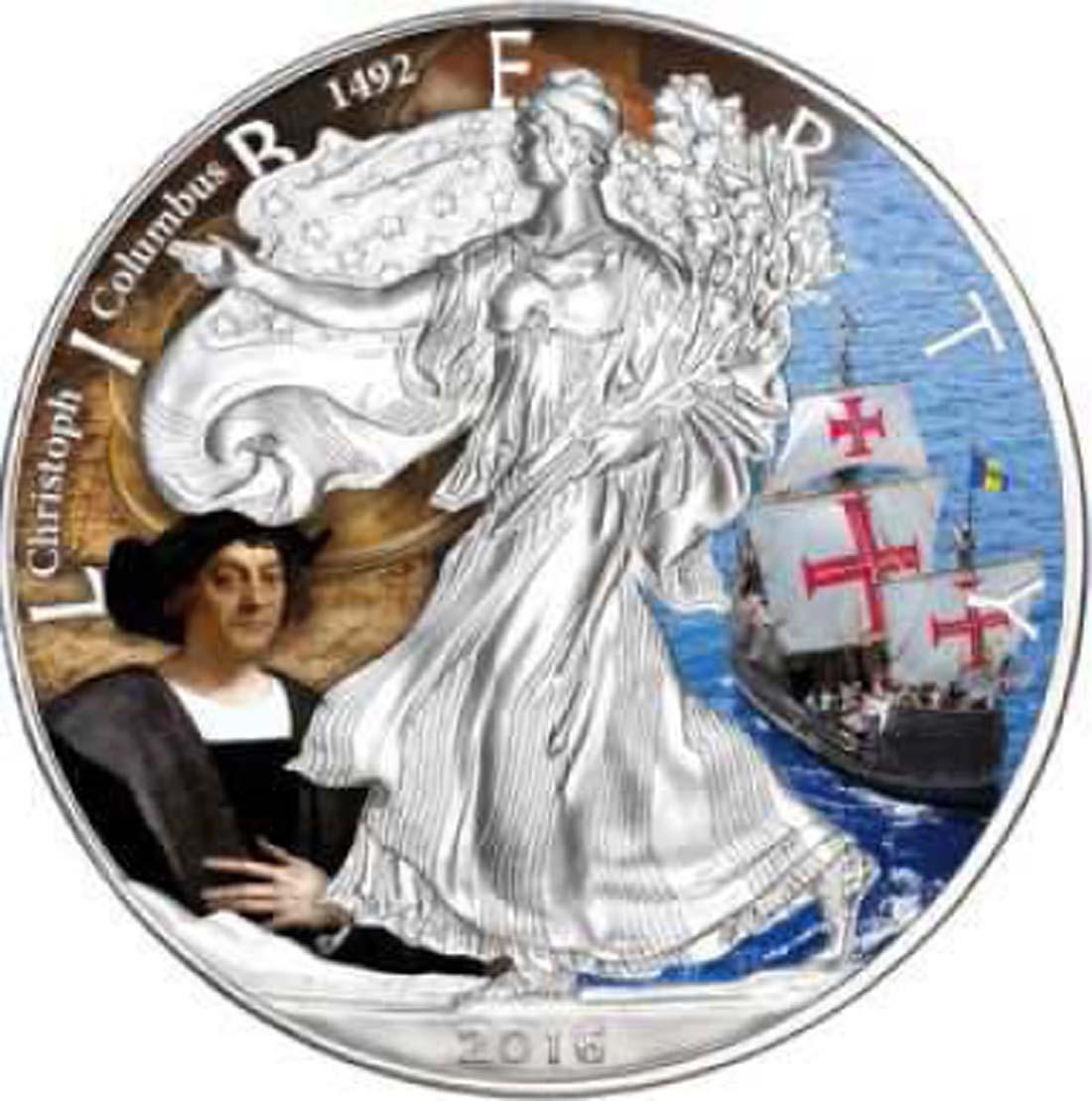 "USA : 1 Dollar Silber Eagle ""Christoph Columbus""  2016 Stgl."