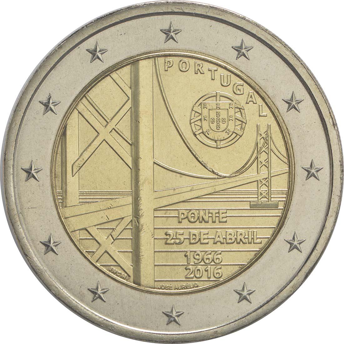 Bild der Rückseite :Portugal - 2 Euro 50 Jahre Brücke des 25. Aprils  2016 bfr