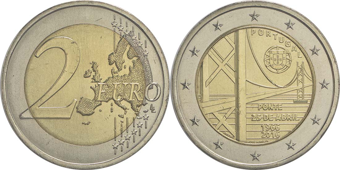 Bild des Lieferumfangs :Portugal - 2 Euro 50 Jahre Brücke des 25. Aprils  2016 bfr