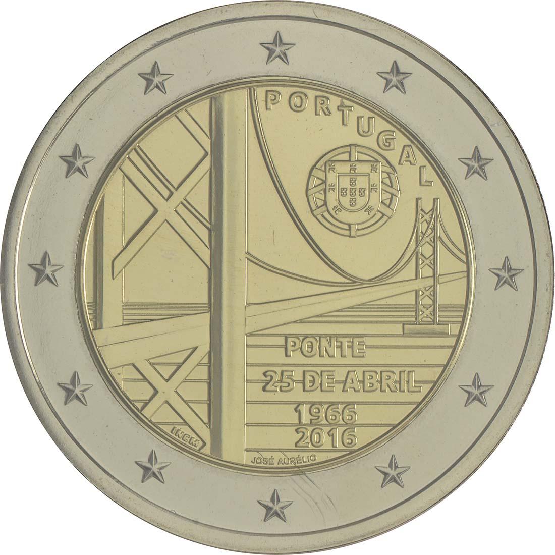 Rückseite :Portugal : 2 Euro 50 Jahre Brücke des 25. Aprils  2016 Stgl.
