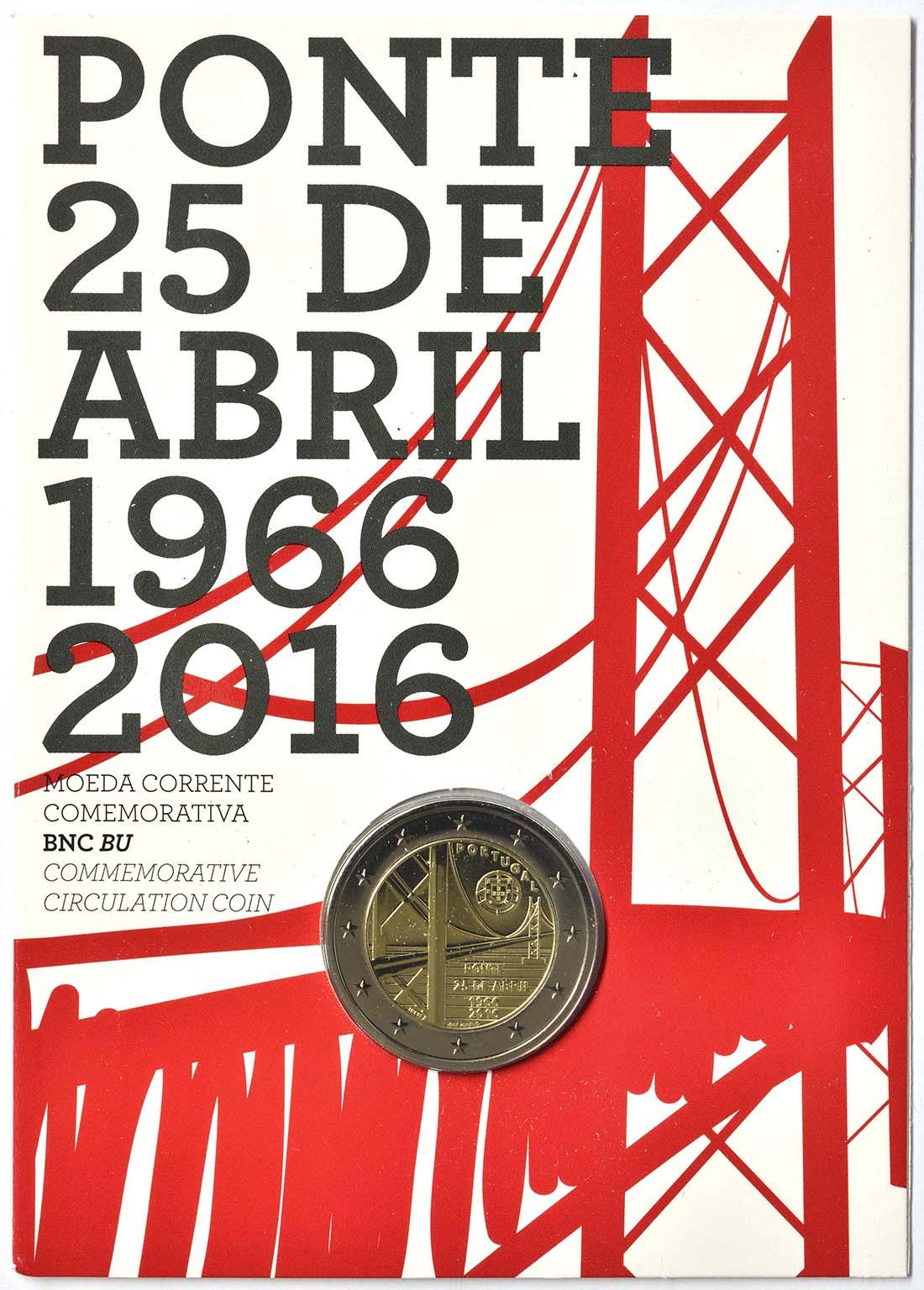 Portugal : 2 Euro 50 Jahre Brücke des 25. Aprils  2016 Stgl.