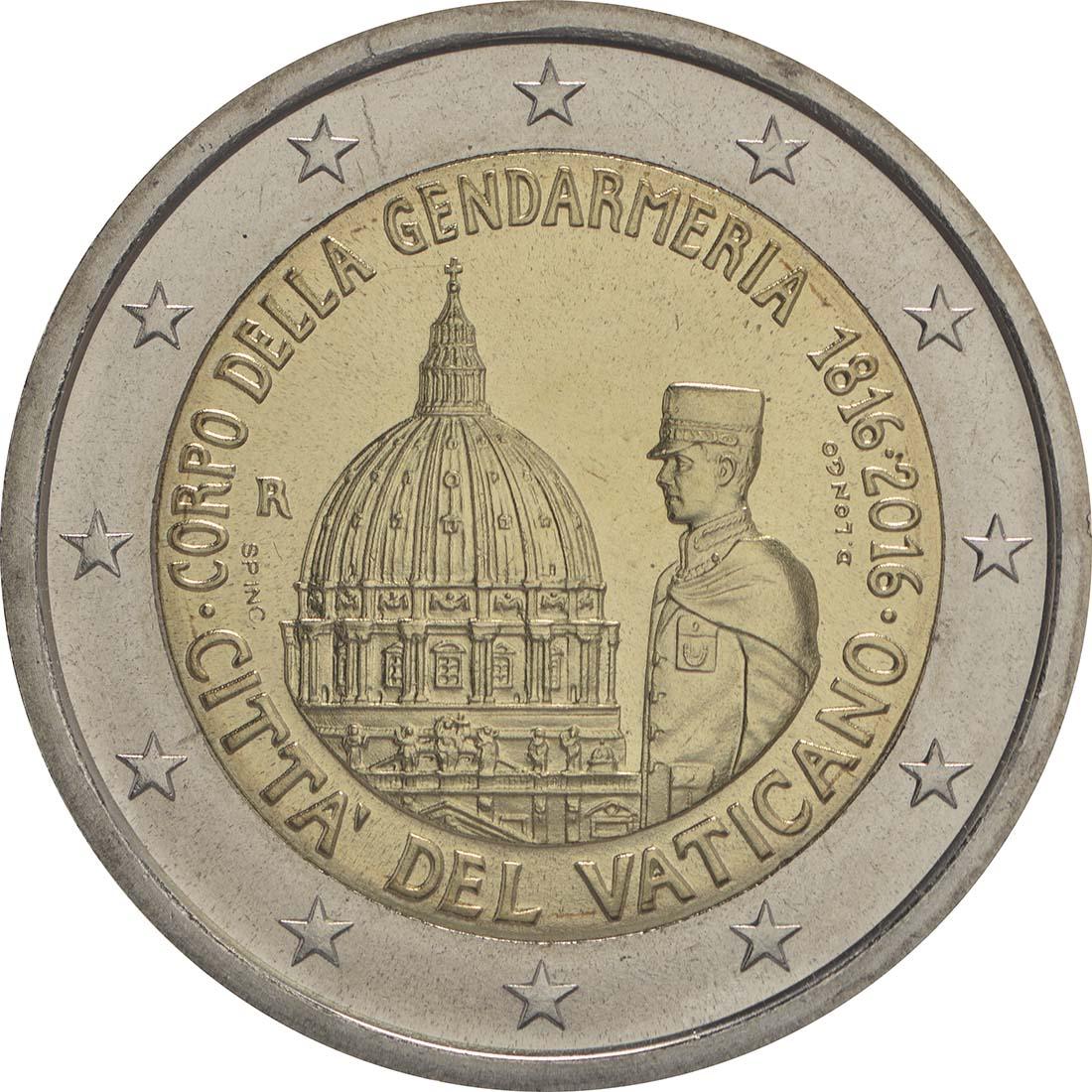 Rückseite :Vatikan : 2 Euro 200 Jahre Vatikanisches Gendarmeriekorps  2016 Stgl.