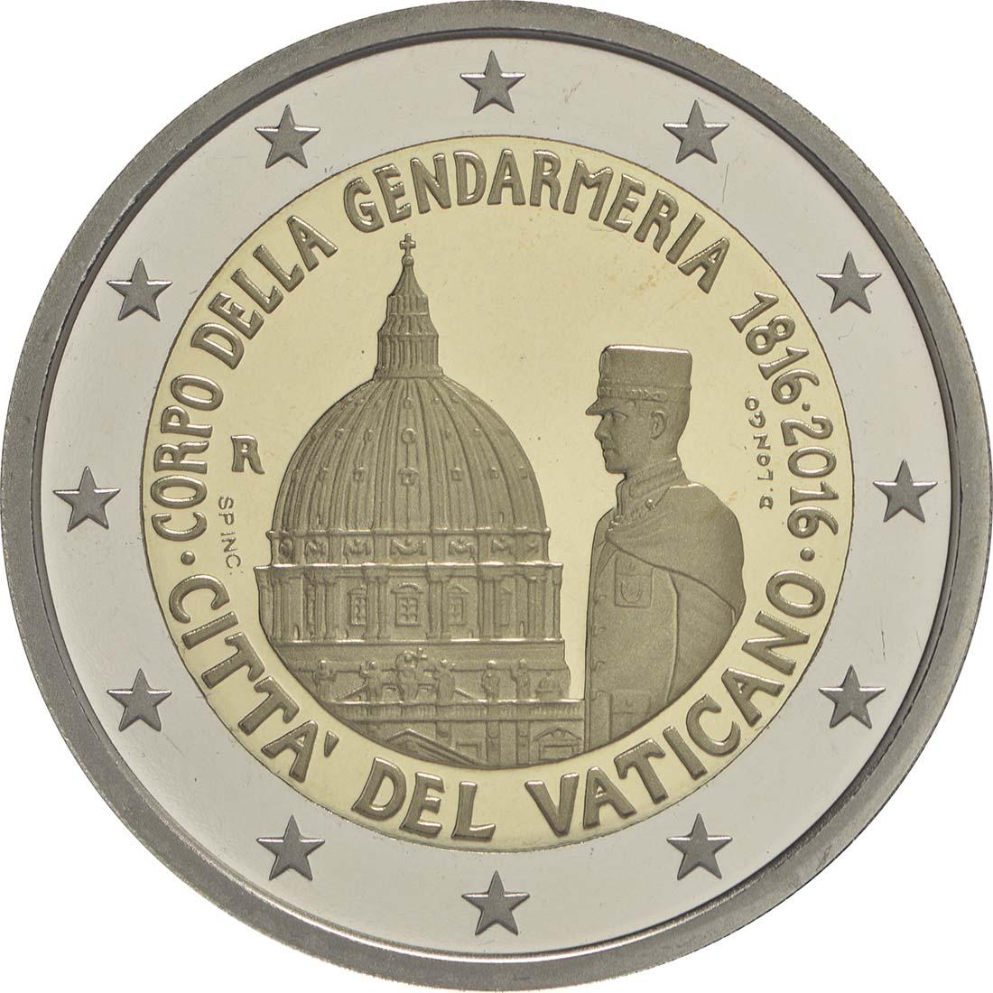 Rückseite :Vatikan : 2 Euro 200 Jahre Vatikanisches Gendarmeriekorps  2016 PP