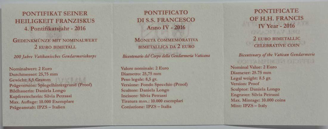 Zertifikat :Vatikan : 2 Euro 200 Jahre Vatikanisches Gendarmeriekorps  2016 PP