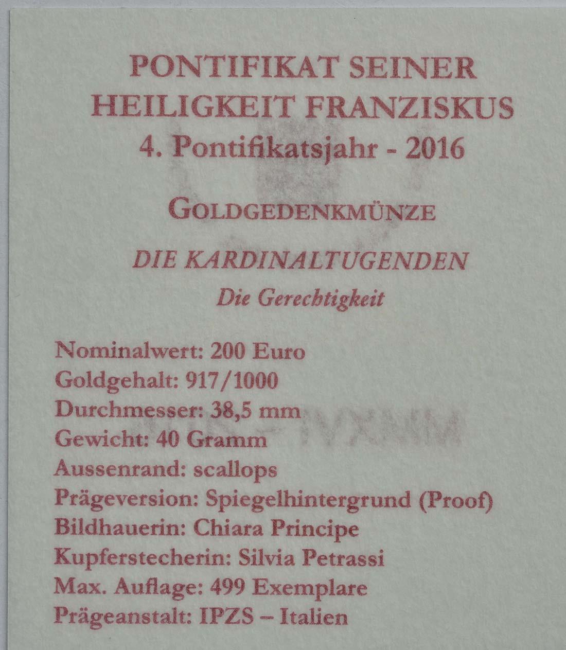 Zertifikat:Vatikan : 200 Euro Die Kardinaltugenden - die Gerechtigkeit  2016 PP