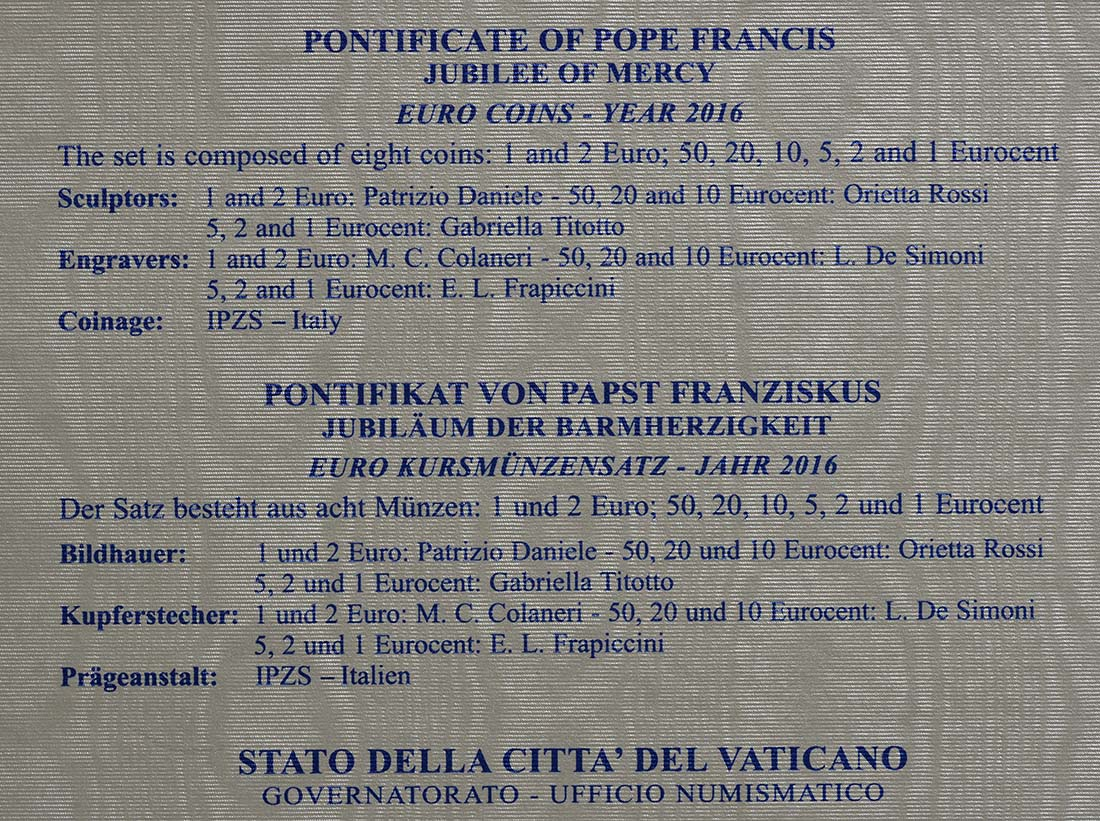 Zertifikat:Vatikan : 3,88 Euro KMS Vatikan  2016 Stgl.