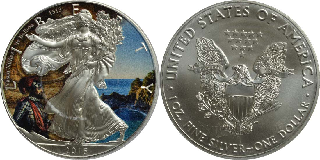 "USA : 1 Dollar Silber Eagle ""Vasco Nunez de Balboa""  2016 Stgl."