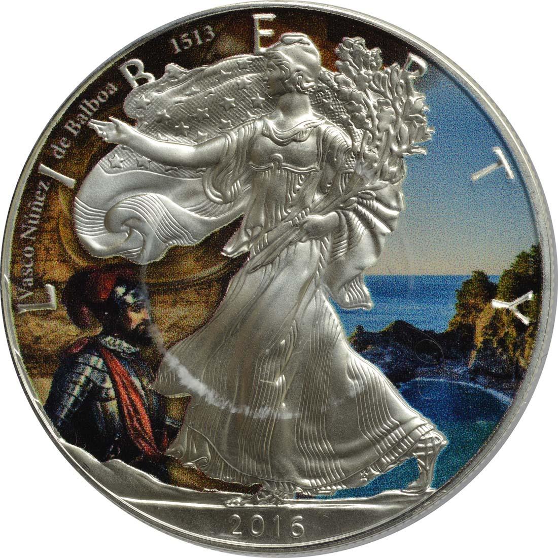 "Vorderseite:USA : 1 Dollar Silber Eagle ""Vasco Nunez de Balboa""  2016 Stgl."