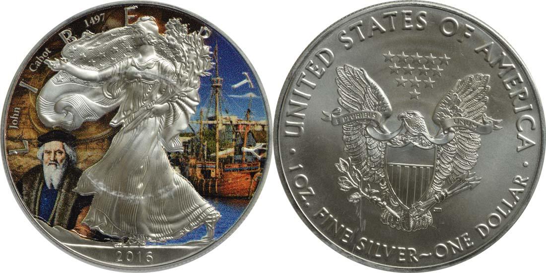 """USA : 1 Dollar Silber Eagle """"John Cabot""""  2016 Stgl."""