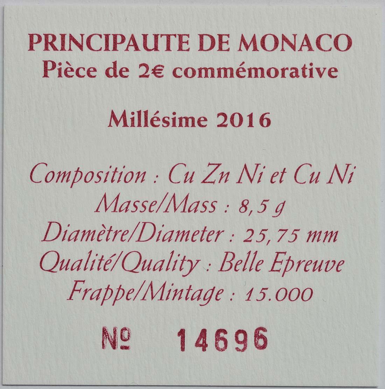 Zertifikat:Monaco : 2 Euro 150. Jahrestag der Gründung Monte Carlos durch Charles III.  2016 PP