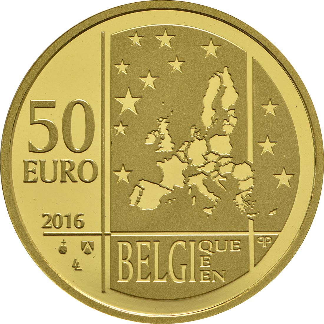 Rückseite:Belgien : 50 Euro Albert Einstein  2016 PP