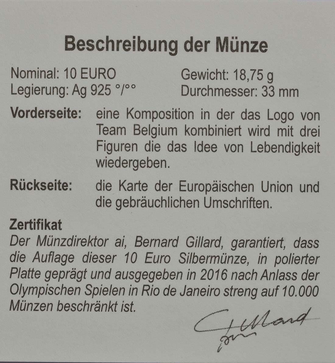 Zertifikat:Belgien : 10 Euro Das belgische Team  2016 PP