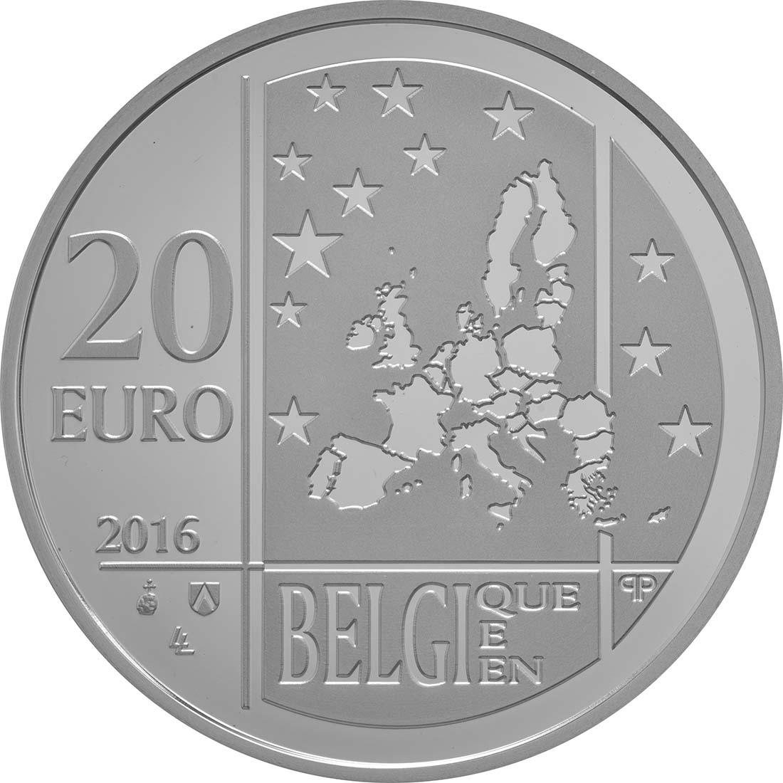 Rückseite:Belgien : 20 Euro 100 Jahre Belgisches Hilfswerk  2016 PP