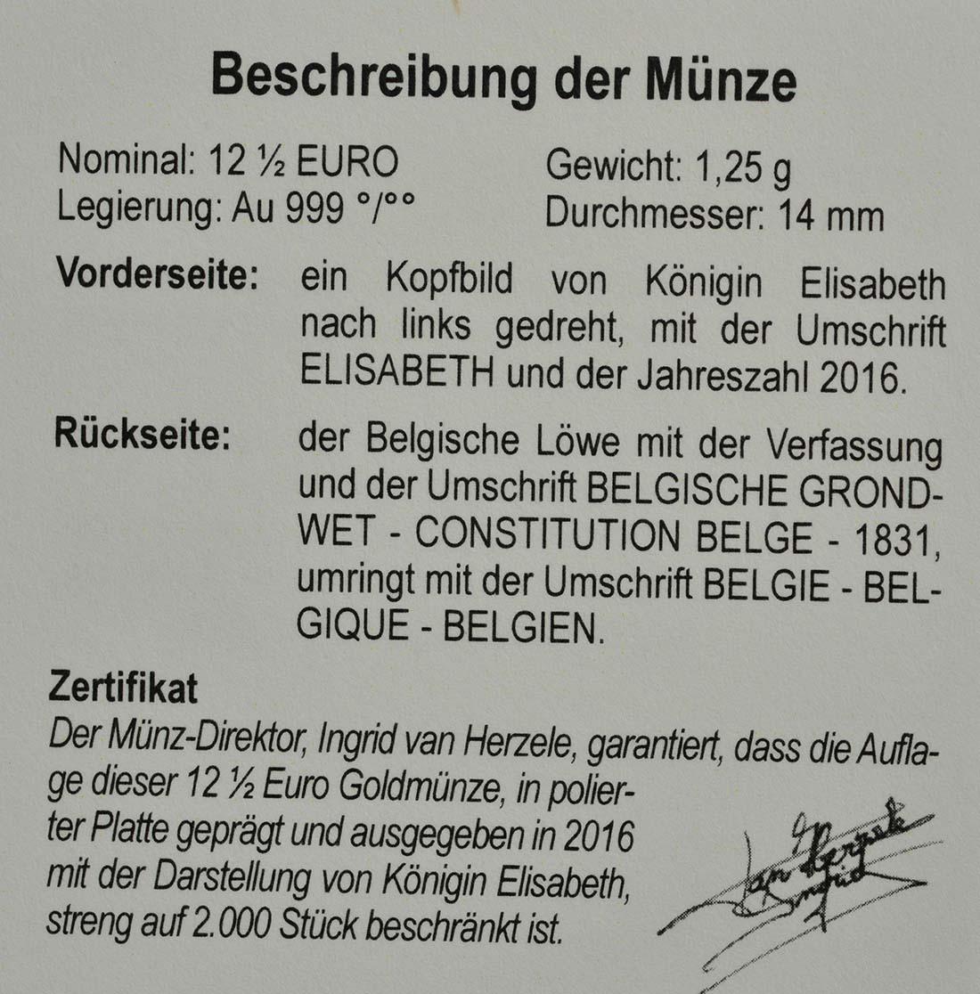 Zertifikat:Belgien : 12,5 Euro Elisabeth - Herzogin in Bayern  2016 PP
