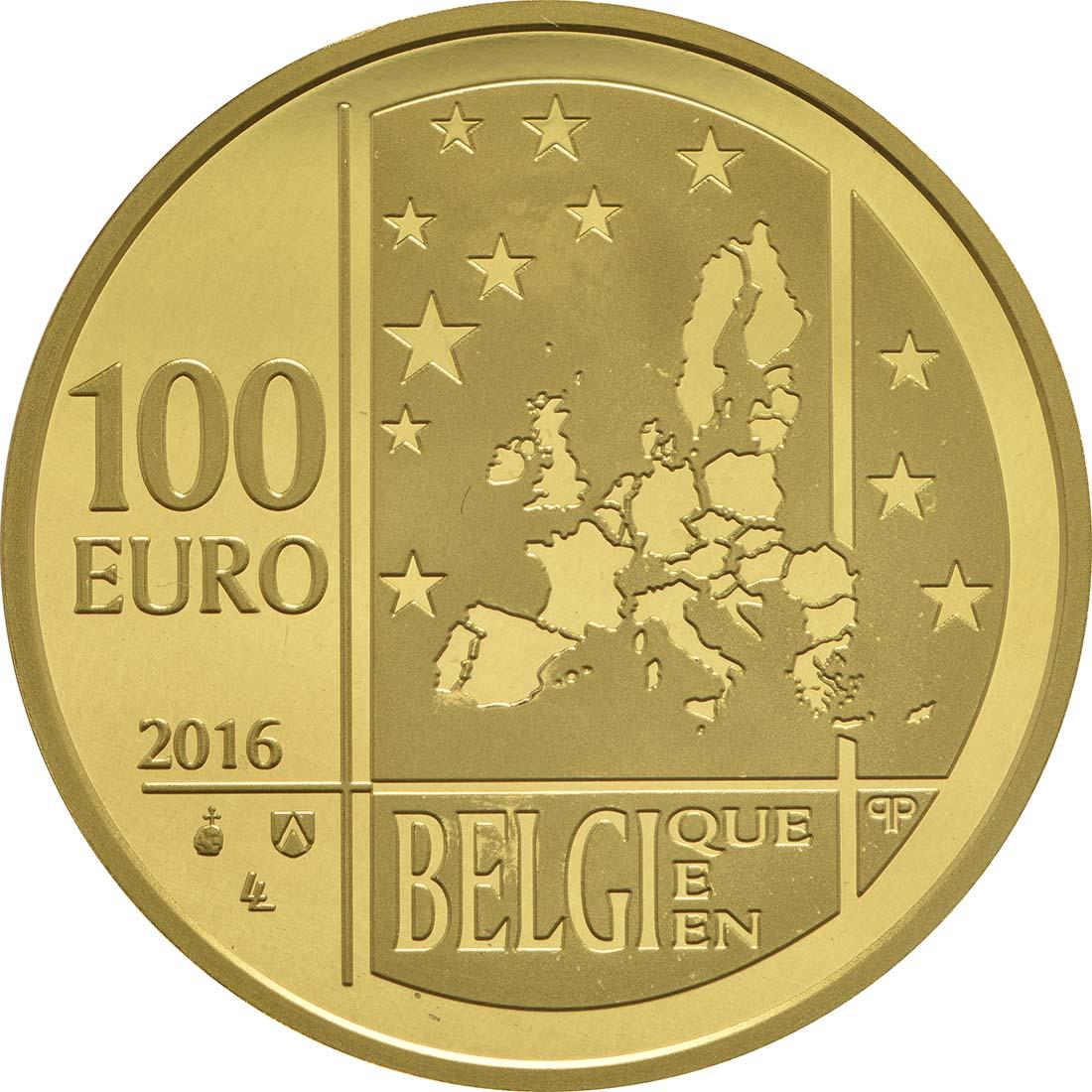 Rückseite:Belgien : 100 Euro 100. Todestag Gabrielle Petit  2016 PP