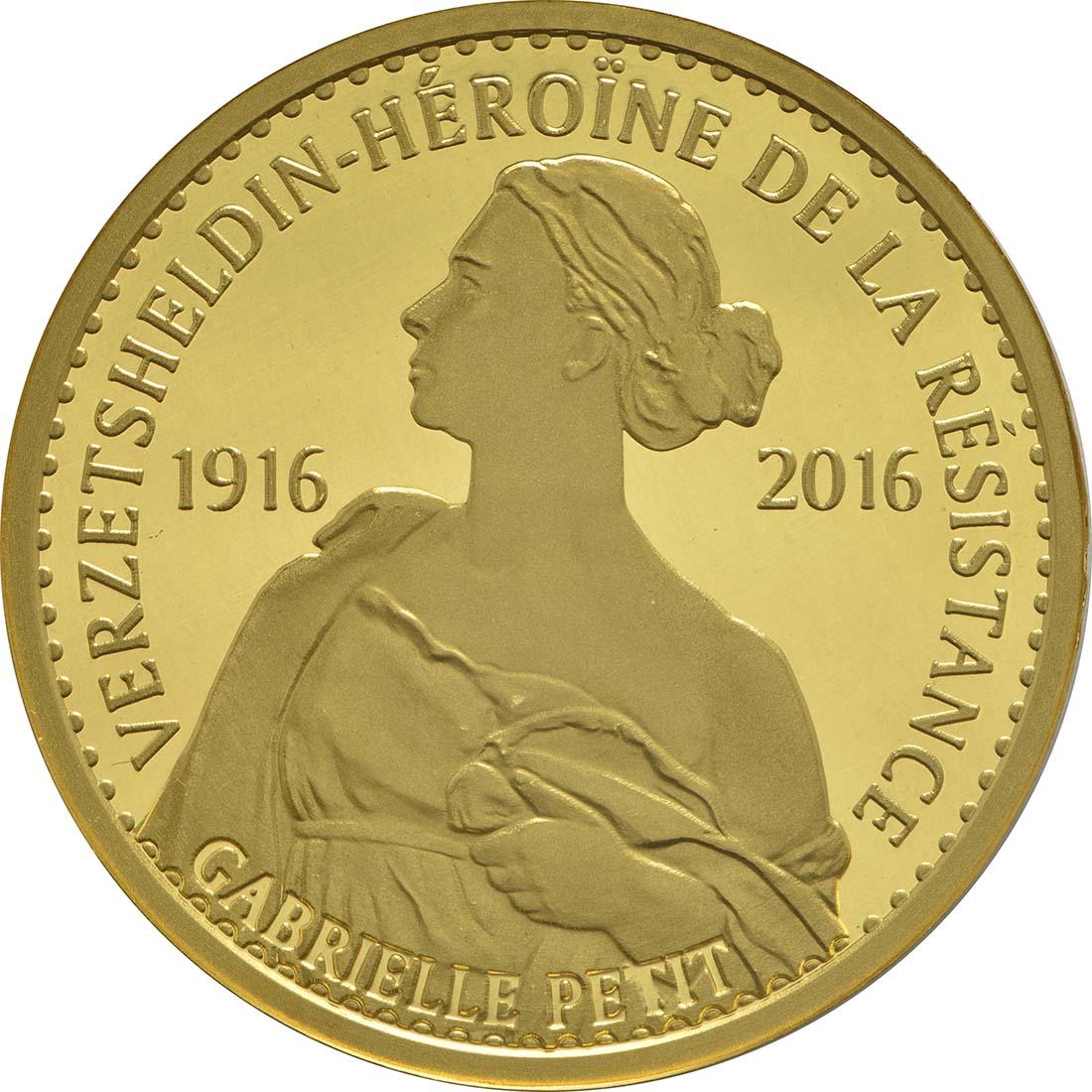 Vorderseite:Belgien : 100 Euro 100. Todestag Gabrielle Petit  2016 PP