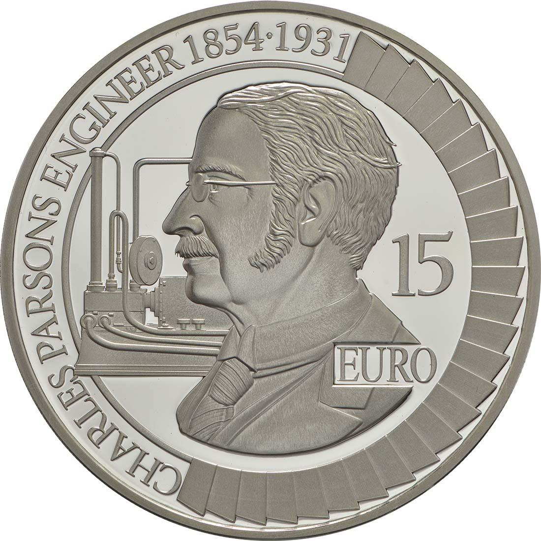 Vorderseite :Irland : 15 Euro Sir Charles Algernon Parsons  2017 PP