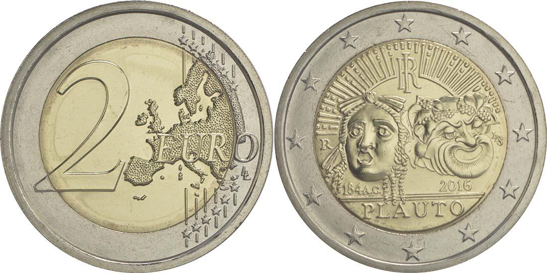 Italien : 2 Euro 2200. Todestag von Titus Maccius Plautus  2016 bfr