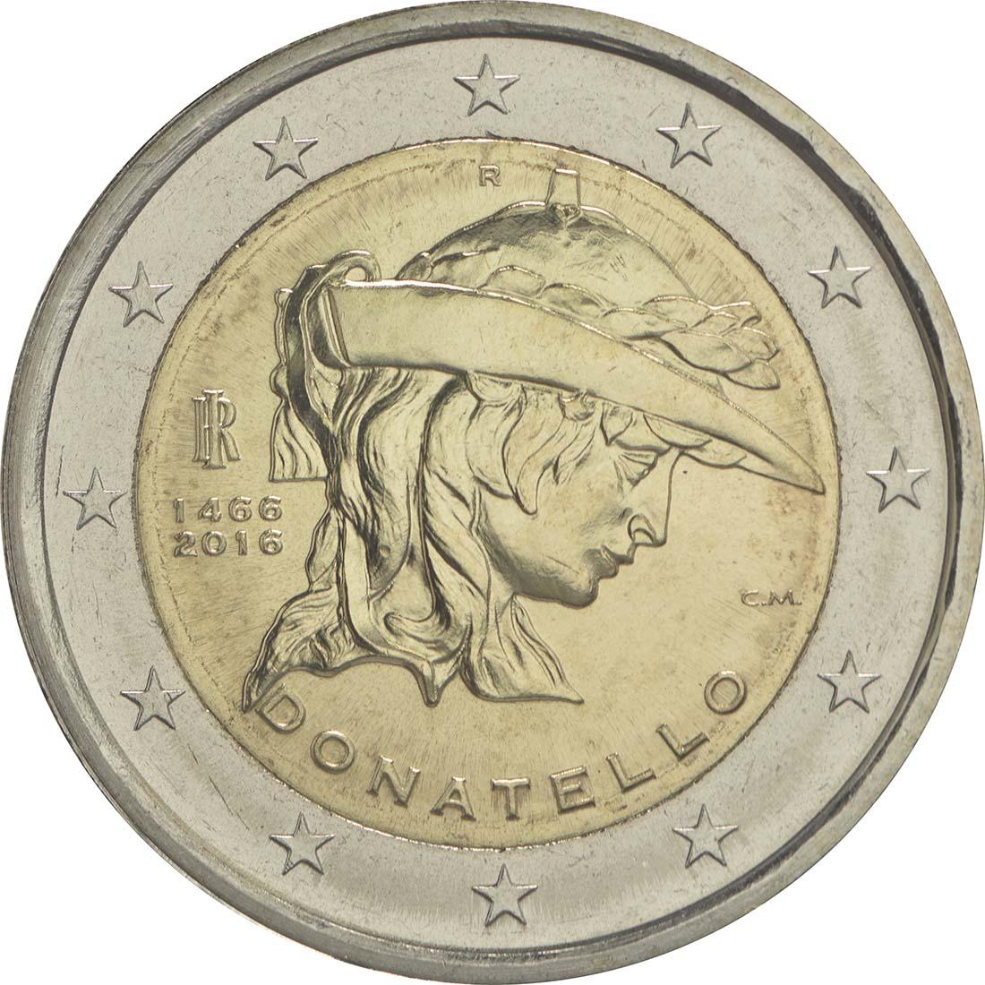 Rückseite:Italien : 2 Euro Donatello Bardi  2016 bfr