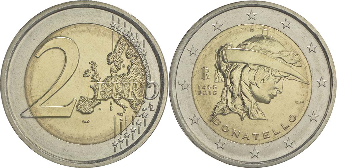 Bild des Lieferumfangs :Italien - 2 Euro Donatello Bardi  2016 bfr
